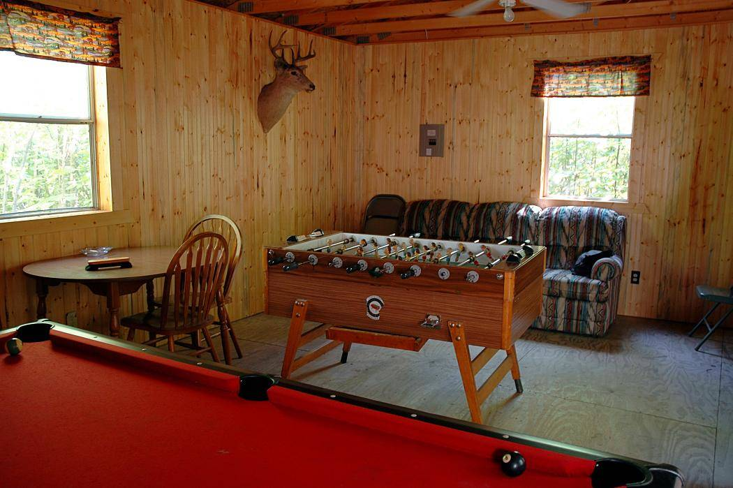 Game room at Everett Bay resort