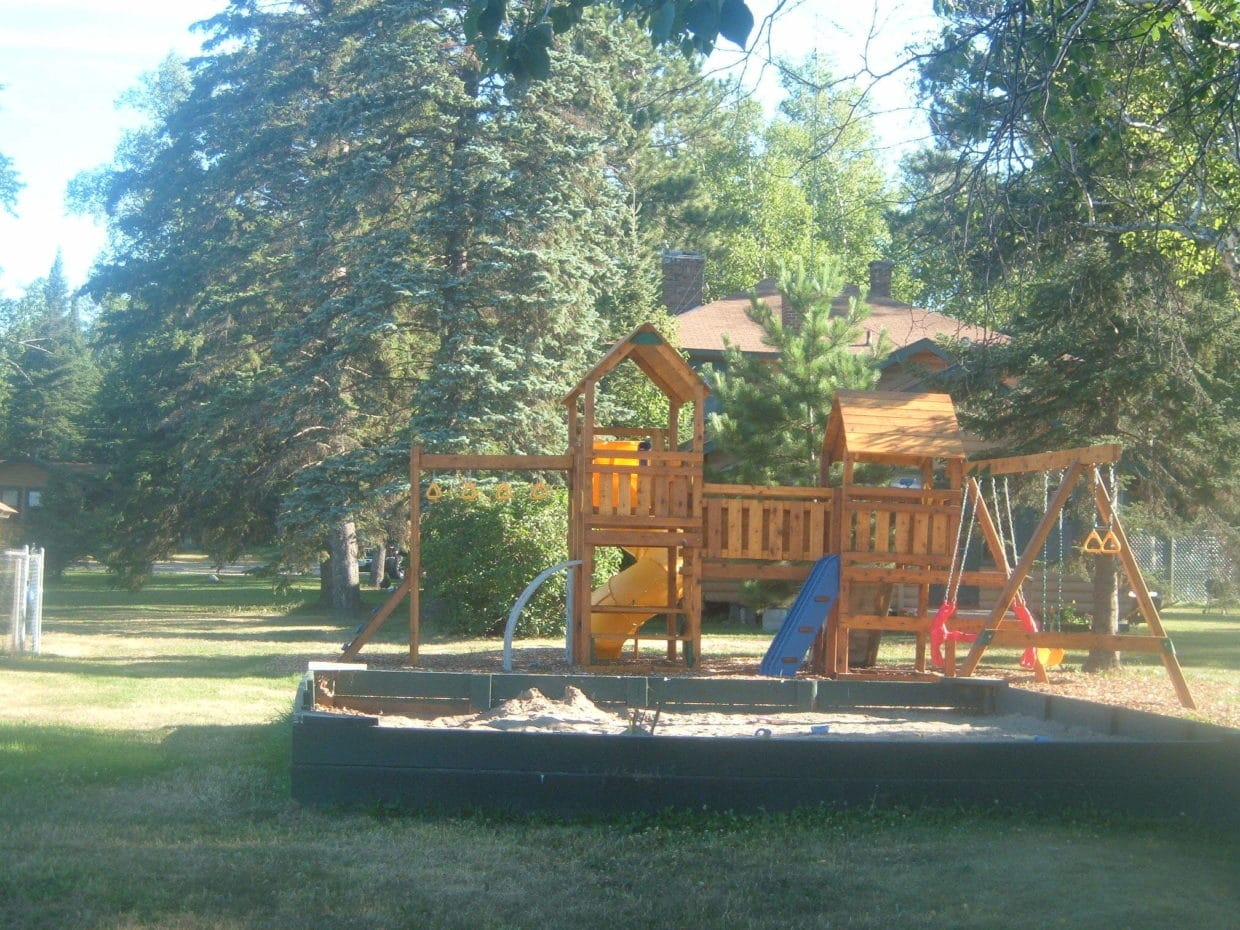 Lake vermilion resort playground at Everett Bay Lodge