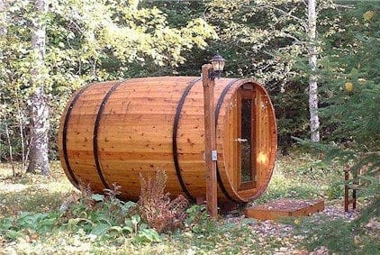 Lake Vermilion resort barrel sauna in woods