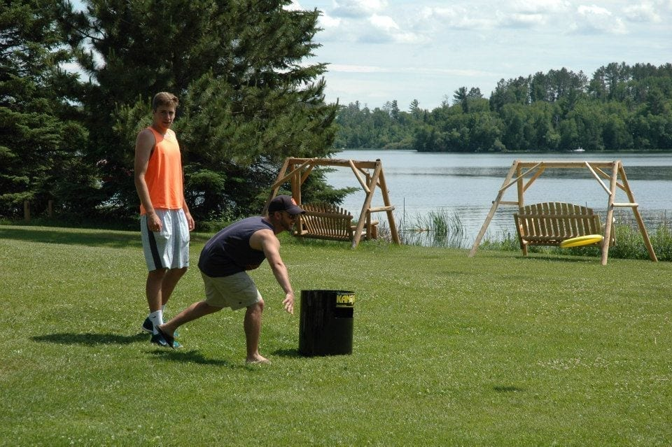 frisbee game at Lake Vermilion family resort