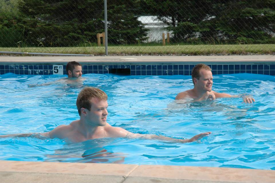 guys in Lake Vermilion resort pool