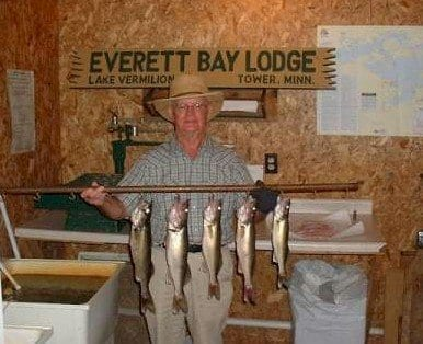 Albert with walleyes at Everett Bay Lodge