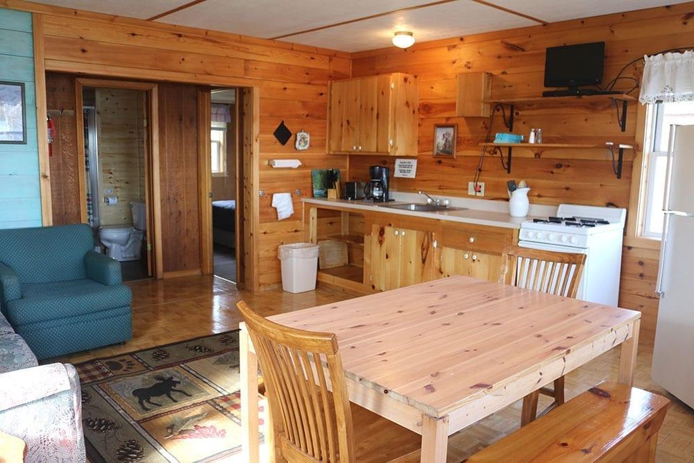 Cabin kitchen Everett Bay Lodge
