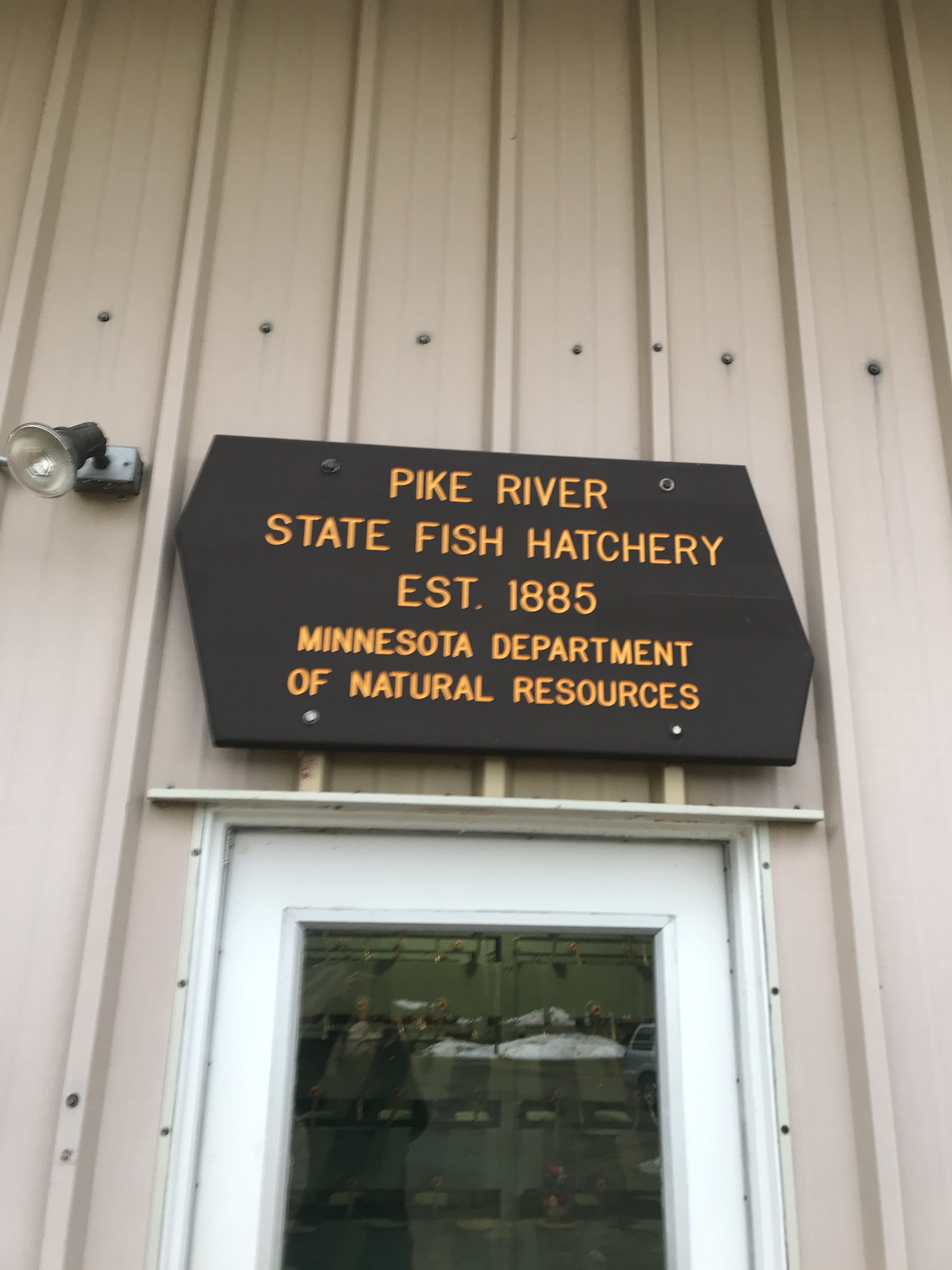 sign showing Lake Vermilion walleye hatchery at Pike River